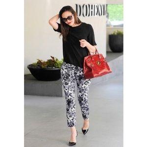 Pants - Black Floral Crop Pant